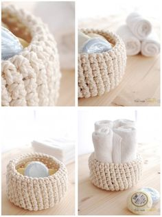 Crocheted DIY bowl for soap or towels