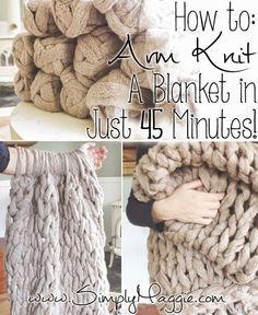 how to arm knit 45-Minute-Blanket #armknitting, #blanket, #freepattern: