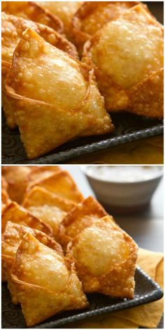 """Crab Rangoon - Who doesn't love party foods"""" like Crab Rangoon – an oldie but a goodie! An incredibly easy appetizer recipe that can be made ahead of time. A perfect party recipe! Crab Rangoon - Who doesn't love Crab Recipes, Easy Appetizer Recipes, Yummy Appetizers, Crab Appetizer, Seafood Appetizers, Seafood Party, Easy Recipes, Easy Appetizers For Party, Easy Dinner Party Recipes"""