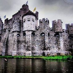 The medieval Gravensteen Castle in Ghent, Belgium. Its name means Castle of the Counts in Dutch.