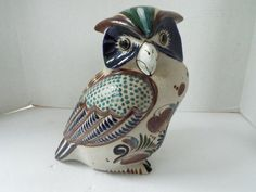 large stoneware pottery owl figurine Mexican pottery Tonala Mateos pottery Tonalo owl signed f Colorful Flowers, Blue Flowers, Earthenware, Stoneware, Clay Birds, Cat Signs, Oil Painting Flowers, Owl Art, Handmade Felt