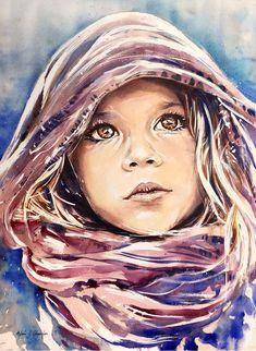 Adan J Cespedes #Watercolor Ojos canela www.adanjcespedes.com