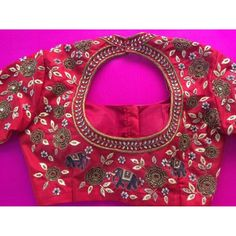 Bridal Red Maggam Work Blouse Shop only at Rachel Boutique Best Blouse Designs, Crop Top Designs, Sari Blouse Designs, Blouse Patterns, Kutch Work Designs, Elephant Design, Work Blouse, Embroidery Designs, Embroidery Blouses