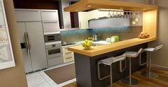 G shaped kitchen is the advancement of U shaped kitchen layout with more spacious workspace and storage while comfort when doing kitchen works is also well provided Kitchen Bar Design, Best Kitchen Designs, Interior Design Kitchen, Bar Kitchen, Kitchen Cabinets, Kitchen Decor, Wooden Kitchen, Interior Paint, Interior Ideas