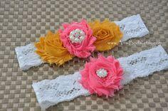 Wedding Garter Set,Salmon Coral Garters,Garter Belts,Bridal Garter Set, Toss lace Garter, Coral Wedding, Gold,Mustard Garter, Custom garters