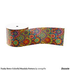 Funky Retro Colorful Mandala Pattern Grosgrain Ribbon