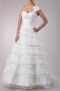 Organza One Shoulder A Line Wedding Dress Price : $479.99 Free Shipping!