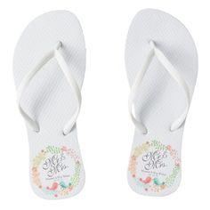 e2d28f32c9a0 Mr.   Mrs. Elegant Floral Wedding Flip Flops - floral style flower flowers  stylish diy personalize