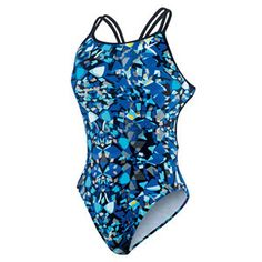 Nike Swim Shattered Glass Spiderback - 81% Nylon 19% Spandex - Unique double strap design - Open backed - Fully lined For Basic Sizing Guides For Basic Proper Care Instructions For Basic Tips for Gett