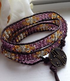 Handmade Triple Wrap Beaded Patterned Unisex Bracelet - Pin me now! by goldenhandscreations, $45.00 #unisexwrapbracelet #patternedwrapbracelet #triplewrapbracelet