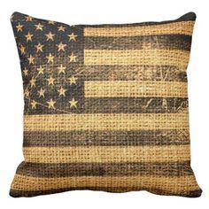 Vintage American Flag Burlap Linen Rustic Jute Throw Pillow