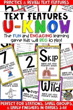 Students love playing U-Know games for fun REVIEW of nonfiction text features or for test prep. It's a perfect activity for any small group or station, and great for early finishers. Text Features U-Know is a fun learning game played similar to UNO except if you get an answer wrong, you have to draw two! Students will beg to practice text features in this way! Available in MANY other topics, too!