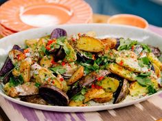 Roasted Potatoes with Warm Blue Cheese Sauce Recipe from Jeffrey Zakarian on the Food Network Potato Dishes, Vegetable Sides, Vegetable Side Dishes, Potato Recipes, Potato Rice, Veggie Recipes, Salad Recipes, Potato Salad, Food Network Recipes
