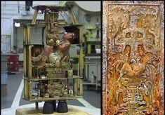 """O sarcófago de Pacal - nave espacial maia antiga   Pacal (""""Pakal igualmente soletrado"""") era a régua de Palenque em México do sul durante ..."""