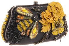 Mary Frances - All Abuzz Clutch ~ fabrics, beads & and plastic & metal components Mary Frances Purses, Mary Frances Handbags, Beaded Purses, Beaded Bags, I Love Bees, Bee Jewelry, Jewellery, Bees Knees, Vintage Purses