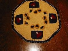 Primitive Candle Mat -Woolfelt Penny Rug-Flowers 9""