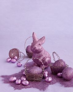 """""""We're used to seeing oversize Easter baskets,"""" Kevin says, """"but small can be just as special. A few of these beaded beauties set with glittered eggs make a striking centerpiece. They could work as place settings, too.""""Buy the Charoite Fine Glitter"""