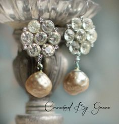 Pearl Drops vintage assemblage earrings dimpled by crownedbygrace