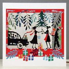 car with tree and presents glitter christmas card