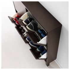 IKEA - STÄLL, Shoe cabinet with 4 compartments, white, Helps you organize your shoes and saves floor space at the same time. The cabinet only has legs at the front so it can stand close up to the wall above the baseboard. of 8 pairs of shoes.