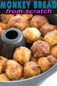 Easy homemade monkey bread from scratch recipe. The best cinnamon pull apart bites for breakfast or dessert! Dessert From Scratch, Cookie Recipes From Scratch, Recipe From Scratch, Rock Crock Recipes, Slow Cooker Recipes Dessert, Dessert Recipes, Brunch Recipes, Recipe Fo, Best Bread Recipe
