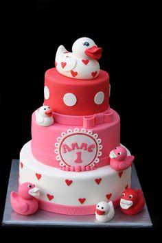 Little Pink Duckies Cake Fancy Cakes, Cute Cakes, Fondant Cakes, Cupcake Cakes, Duck Cake, Gift Cake, Birthday Cake Girls, Novelty Cakes, Love Cake