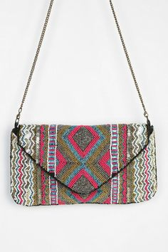 Ecote Zigzag Beaded Envelope Clutch #urbanoutfitters