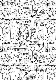 Libre de papel imprimible colorear cumpleaños - ausdruckbares Geschenkpapier - regalo de promoción | MeinLilaPark - Dibujos para bricolaje y descargas