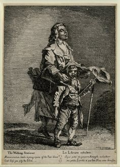 Paul Sandby,  London, 1760  An old blind man being guided to right by a young boy, holding a basket full of books, while the boy looks towards the viewer. 1760