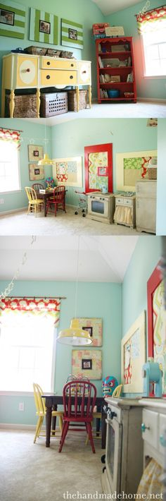 Playroom ideas...  Same color scheme I have in mind. Just gray walls and turquoise as an accent. Love the big yellow buffet/ dresser idea.