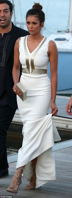 Stunning display: The 26-year-old actress showed off her neat, tiny curves in the dress, w...