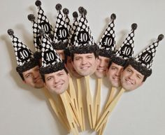 Over the hill birthday hat photo cupcake toppers--with dad's b/w senior picture? oh my. amazing.