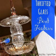 Thrifted Glass Bird Feeders ~ DIY Friday on day2day SuperMom