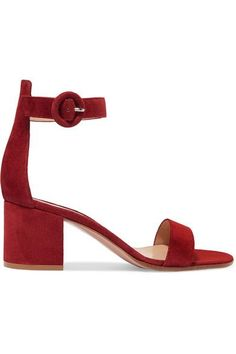 Gianvito Rossi - Portofino Suede Sandals - Claret - IT39.5