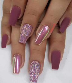 Try These Fashionable Nail Ideas That'll Boost Your Fall Mood - 49 nail art designs that perfect for fall and winter, coffin nail art designs, almond nail art desi - Nail Art Designs Images, Fall Nail Art Designs, Cute Acrylic Nail Designs, Best Acrylic Nails, Latest Nail Designs, Latest Nail Art, Sparkle Nails, Pink Nails, Gel Nails