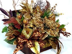 Wild n Exotic Tiger Floral Arrangement Centerpiece in Old World style trunk by cabincovecreations