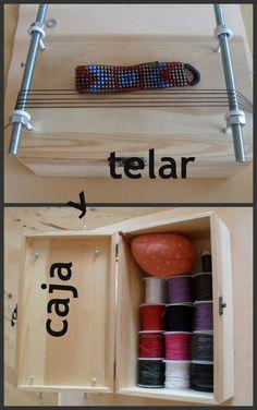 como hacer un telar de bisuteria con una caja. resultado