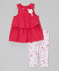 Look at this Kids Headquarters Red Tiered Yoke Tunic & Heart Leggings - Toddler & Girls by Kids Headquarters Cute Outfits For Kids, Toddler Outfits, Toddler Girls, Infant Toddler, Baby Outfits, Fashion Kids, Girl Fashion, Kids Headquarters, 2 Piece Outfits