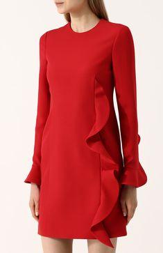 f1995e6318a Женское красное однотонное мини-платье из смеси шерсти и шелка с оборкой  VALENTINO — купить за 126500 руб. в интернет-магазине ЦУМ