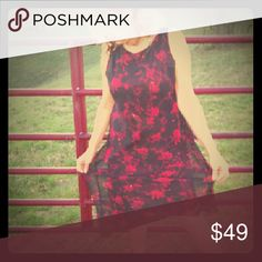 Black/Red Dress Black/Red high/low hem hangs below knee... Jessica Howard Dresses Midi
