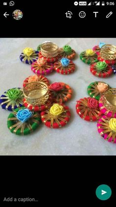 wrap ribbon and gota around banglles Diwali Decoration Items, Thali Decoration Ideas, Diwali Decorations At Home, Festival Decorations, Diwali Diya, Diwali Craft, Art N Craft, Craft Work, Candle Holder Decor