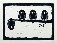 Linoldruck - Linoldruck 4 kleine schwarze Vögel 8 x 10 Zoll - ein Designerstück von newsfromrome bei DaWanda