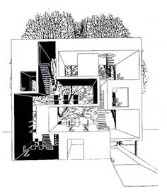 "Elevation section of a ""double house"" in Utrecht designed by MVRDV at 1995"