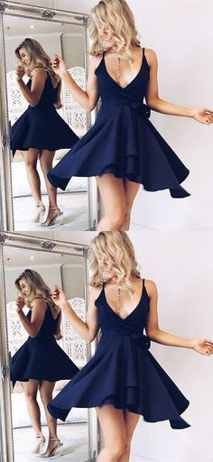 navy homecoming party dresses, chic short v-neck prom gowns, simple  fashion gown for teens
