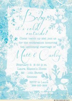 Frosty Aqua Snowflake Shower Invitations