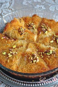 Lussi`s World of Artcraft: Кюнефе / Kanafeh/Künefe (Sweet Cheese Pastry) Bulgarian Desserts, Bulgarian Recipes, Turkish Recipes, Ethnic Recipes, Bulgarian Food, Sweets Recipes, Cooking Recipes, Cheese Pastry, Bread And Pastries