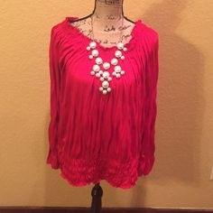 Red boho style blouse ALL ITEMS ARE BOGO 50% OFF OF EQUAL OR LESSER VALUE ITEMcherry red top in 65% polyester/35% rayon.  Elastic band hem and elastic along the wrist area of the sleeve.  Can be worn off the shoulder too.TRADESPAYPAL HOLDS Thanks for understanding! Cato Tops Blouses