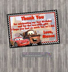 Disney Cars Birthday Thank you Card, Digital Printable, Lightning McQueen, Tow Mater, Personalized Birthday party thank you card by FromTheHartDesign on Etsy https://www.etsy.com/listing/255035048/disney-cars-birthday-thank-you-card