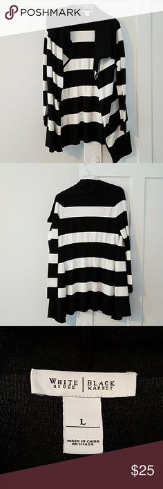 Black and white striped open front cardigan Black and white stripes with open front White House Black Market Sweaters Cardigans