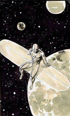 Silver Surfer by Joel Gomez. This is my all time favorite Silver Surfer fan art. Comic Book Characters, Comic Book Heroes, Marvel Characters, Comic Character, Comic Books Art, Comic Art, Silver Surfer, Marvel Comics Art, Marvel Heroes